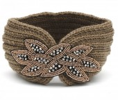 R-N3.2 H114-002 Knitted Headband with Crystals Brown