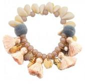 J-C2.4 B021-005 Bracelet with Shells-Tassels-Pineapples