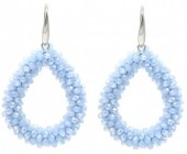 A-D4.1  E007-001 Facet Glass Beads 4.5x3.5cm Light Blue
