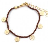 B-E7.2 B2039-018B Bracelet with Glass Beads and Coins Brown
