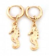 E-C20.4 E304-014 Metal Earrings with Seahorse Gold