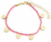 A-E3.2 B2039-018G Bracelet with Glass Beads and Coins Pink