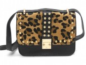 Q-J8.2 BAG009-008 Trendy PU Bag with Studs and Leopard Print Black