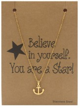 F-B20.1 N015-001 Stainless Steel Necklace Anchor 40-47cm Gold