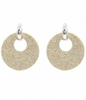 E220-003 Trendy Sparkling Earrings Round Gold