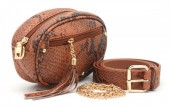 T-H6.2  BAG212-006 PU Snakeskin Combination Bag incl Belt Brown