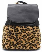 Q-I8.2 BAG009-003 PU Backpack with Leopard Print Black