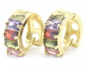 A-D3.3 E516-001 Earrincs 15mm with Cubic Zirconia Multi Color Gold