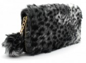 R-E4.2 WA117-005 Soft Fake Fur Wallet with Pompon 19x10cm Leopard Print Grey