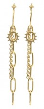 B-A5.3 E2003-004 S. Steel Earrings Sun with Chains 1.5x7cm Gold