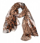 T-L6.1 S208-006 Scarf with Mixed Animal Prints 180x90cm Brown