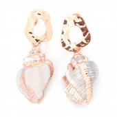 E-E6.4 E304-029 Metal Earrings with Gold Plated Shell