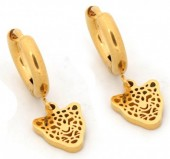 B-C5.2 E1842-010 Stainless Steel Earrings Leopard Gold 10mm  10mm Charm