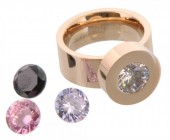 G-A6.2  Stainless Steel Ring Rose Gold R004-037 Size 17 Interchangeable Diamonds