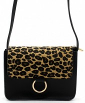 Q-O7.1 BAG202-001 PU Bag with Leopard Print 20x14x8cm Black