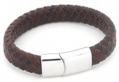 B105-003 Leather Bracelet with Stainless Steel Lock 21cm Brown