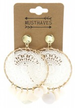 F-D15.1 E536-108A Earrings Woven with Shells 7x4.5cm White