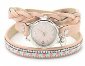 E-E3.5 WA1202 PU Wrap Watch with Crystals Pink