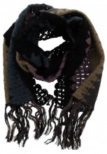 T-A5.2  Knitted Scarf with Fringes Color Blocking Multi Color 50x180cm