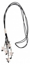 C-B19.1  Black Leather Necklace with Metal Stars 85cm