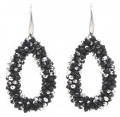 A-B6.3  E007-001 Facet Glass Beads 4.5x3.5cm Black-Silver