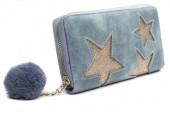 Q-I7.1 WA009-002 Wallet with Glitter Stars and Pompon 19x10cm Blue