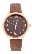 WA023-001 Quartz Watch with PU Strap Rose Gold-Brown
