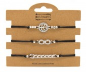 F-F5.2 B316-045 Bracelet Set 3pcs Tree of Life - Infinity - Chain Black