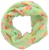 S-I5.2 Loop Scarf with Flowers Green