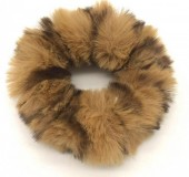 S-D5.1 H414-003B Scrunchie Fluffy Animal Print Brown