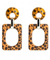 A-D19.5 Square Acrylic Earrings with Leopard Print 6.4x3cm Brown