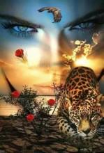 Q-B8.1 GM0020 Diamond Painting Set Leopard Girl  50x40cm