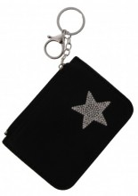 S-B1.4 WA1202-004 Keychain Wallet with Star and Crystals 12x8.5cm Black