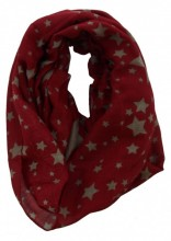 S-A1.1 Col Scarf Stars Viscose Red