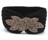 R-N2.1 H114-002 Knitted Headband with Crystals Black