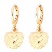 E-C16.2  E304-009 Metal Earrings Heart Gold