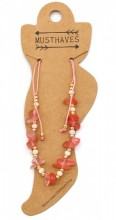 E-C2.2  ANK221-017 Anklet with Stones Pink