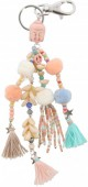 B-E18.1 K009-018 Key-Bag Chain with Stone Buddha Shells Tassels and Pompoms