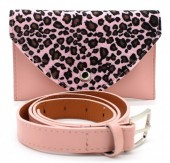 Q-A2.1 WA1202-020 Belt Purse - Festival Musthave Panter Print 17x11cm including belt Pink