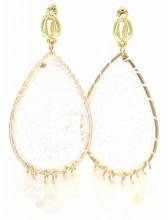 G-B15.1 E536-109A Earrings Woven with Shells 8x3.5cm White