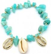 E-B18.2 B2019-046G Bracelet Amazon Stones and Shells Gold