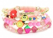 D-C3.1 B536-043A Elastic Bracelet Set 5pcs Fruits Pink