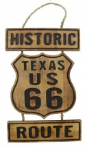 Q-O5.1 #51133 Wooden Sign Route 66 50x26cm