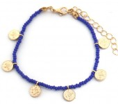 A-C9.1 B2039-018E Bracelet with Glass Beads and Coins Blue