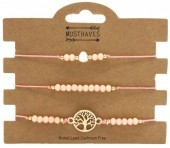 E-D15.1 B019-056 Bracelet Set 3pcs Tree of Life Pink