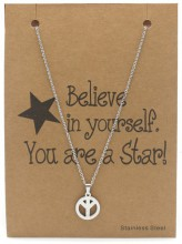 C-D18.3 N015-010 Stainless Steel Necklace Peace 40-47cm Silver