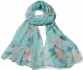 X-G3.1  SCARF507-007B Scarf with Flowers 180x90cm Green-BlueX-G3.1  SCARF507-007B Scarf with Flowers 180x90cm Green-Blue