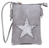 T-J3.1  BAG012-004 PU Bag with Glitter Star 20x15cm Grey