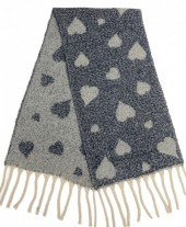 Z-E3.1 S108-008 Soft Double Sided Scarf with Hearts 42x180cm Grey-Blue