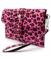 X-N2.2 WA220-008 Clutch with Panther Print and Star 18x12cm Pink